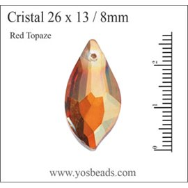 Lot de 5 pendentifs en cristal - Gouttes/26 mm - Red topaze