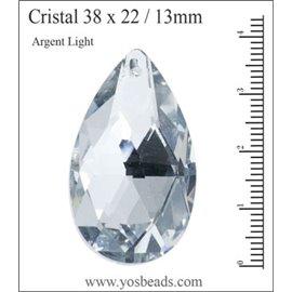 Lot de 3 pendentifs en cristal - Gouttes/38 mm - Argent light