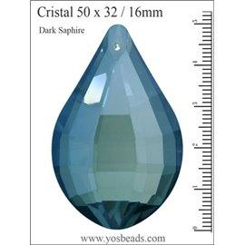 Lot de 3 pendentifs en cristal - Gouttes/50 mm - Dark saphir