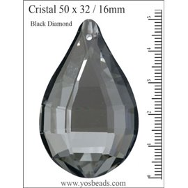 Lot de 3 pendentifs en cristal - Gouttes/50 mm - Black diamond