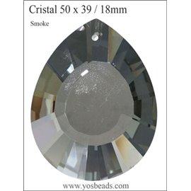 Lot de 3 pendentifs en cristal - Gouttes/50 mm - Smoke