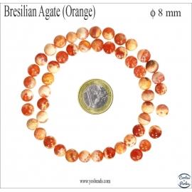 Perles en agate rouge orangée - Rondes/8mm