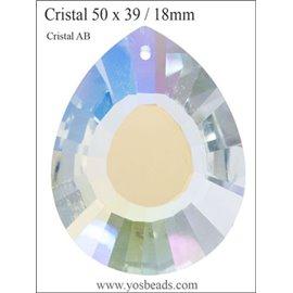 Lot de 3 pendentifs en cristal - Gouttes/50 mm - Transparent