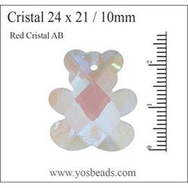 Lot de 5 pendentifs en cristal - Ours/24 mm - Transparent