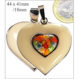 Pendentifs Millefiori - Coeur/44 mm - Multicolore