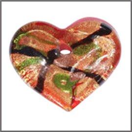 Lot de 5 pendentifs en verre - Coeurs/33 mm - Rouge