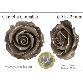 Perles semi précieuses en Cinabre - Fleur/55 mm - Marron