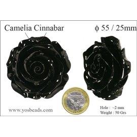 Perles semi précieuses en Cinabre - Fleur/55 mm - Noir