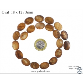 Perles en Nacre - Ovale/18 mm - Marron