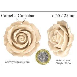 Perles semi précieuses en cinabre - Fleurs/55 mm - Blanc