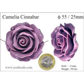 Perles semi précieuses en Cinabre - Fleur/55 mm - Violet