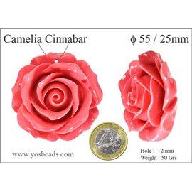 Perles semi précieuses en Cinabre - Fleur/55 mm - Rose