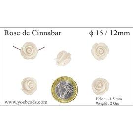 Perles semi précieuses en Cinabre - Fleur/16 mm - Blanc