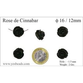 Perles semi précieuses en Cinabre - Fleur/16 mm - Noir