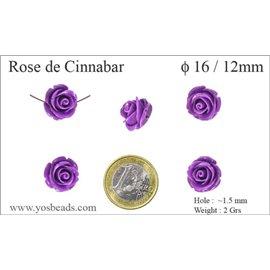 Perles semi précieuses en Cinabre - Fleur/16 mm - Violet