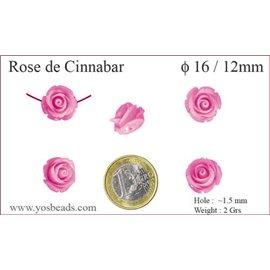 Perles semi précieuses en Cinabre - Fleur/16 mm - Rose