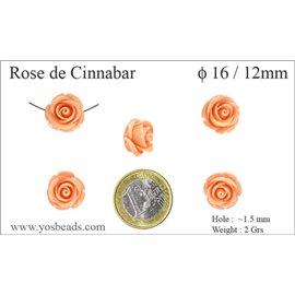 Perles semi précieuses en Cinabre - Fleur/16 mm - Orange