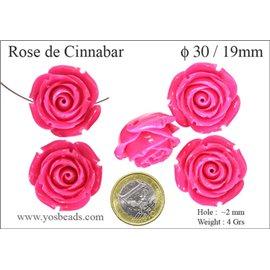 Perles semi précieuses en Cinabre - Fleur/30 mm - Rose