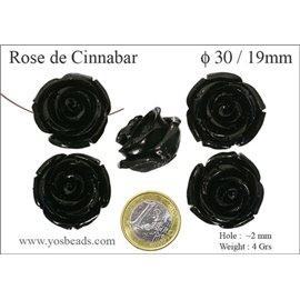 Perles semi précieuses en Cinabre - Fleur/30 mm - Noir