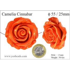 Perles semi précieuses en Cinabre - Fleur/55 mm - Orange