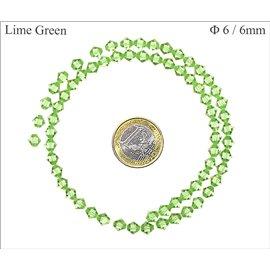 Perles en Cristal de Bohème - Toupie/6 mm - Lime Green