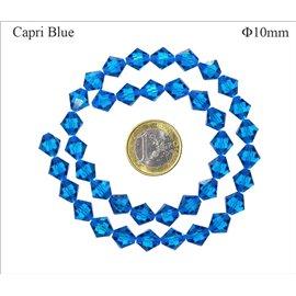 Perles en Cristal de Bohème - Toupie/10 mm - Capri Blue