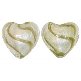 Perles de Venise - Coeur/28 mm - Blanc