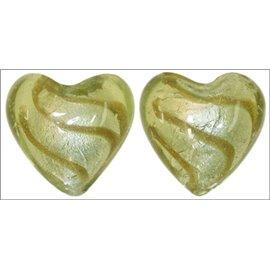 Perles de Venise - Coeur/28 mm - Vert