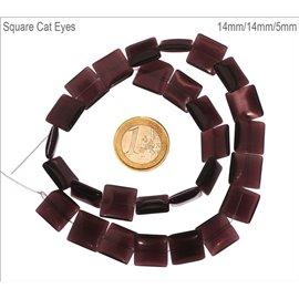 Perles Œil de Chat Lisses - Carré/14 mm - Violet