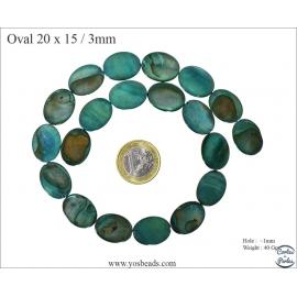 Perles en Nacre - Ovale/20 mm - Vert