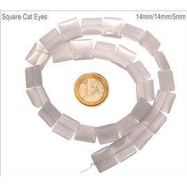 Perles oeil de chat lisses - Carrées/14 mm - Blanc