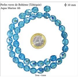 Perles en verre facettées - Rondes/10 mm - Aquamarine AB