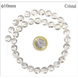 Perles en verre facettées - Rondes/10 mm - Cristal