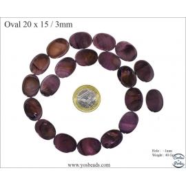 Perles en Nacre - Ovale/20 mm - Violet
