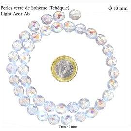 Perles en verre facettées - Rondes/10 mm - Cristal AB