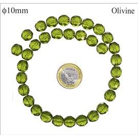 Perles en verre facettées - Rondes/10 mm - Olivine