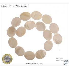 Perles en Nacre - Ovale/25 mm - Blanc