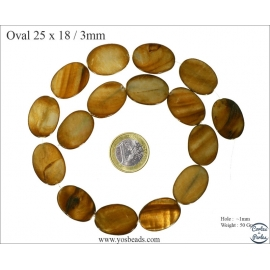 Perles en Nacre - Ovale/25 mm - Marron