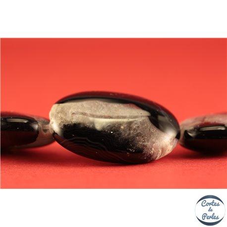 Perles semi précieuses en Agate - Ovales/25 mm - Noir