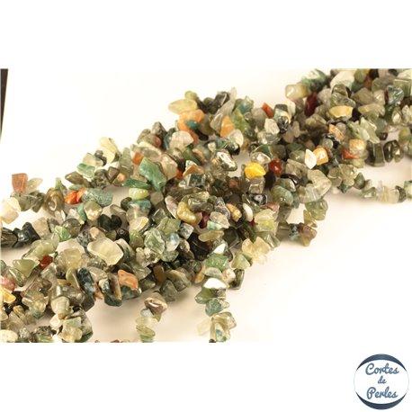 Perles semi précieuses en indian agate - Pépites/4 mm - Vert Foncé