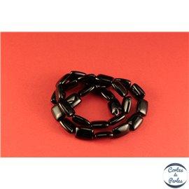Perles semi précieuses en agate - Rectangles/14 mm - Noir - Grade A