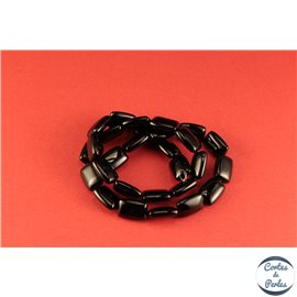 Perles semi précieuses en agate - Rectangles/14 mm - Noir