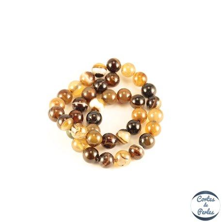 Perles semi précieuses en Agate - Rondes/10 mm - Café au Lait