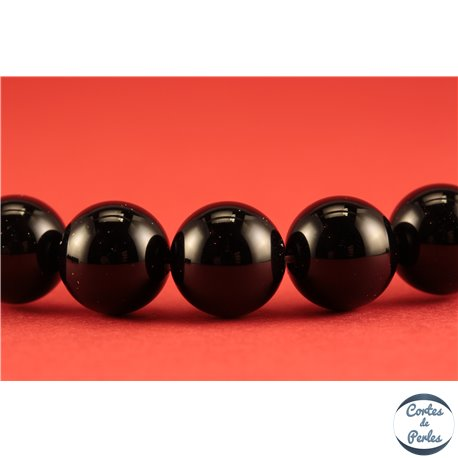 Perles semi précieuses en agate - Rondes/10 mm - Noir - Grade A