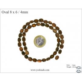Perles en nacre - Ovales/8 mm - Marron