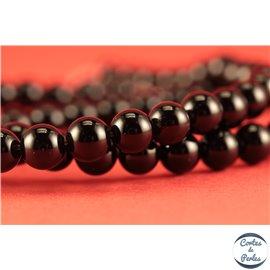 Perles semi précieuses en agate - Rondes/6 mm - Noir - Grade A