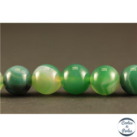 Perles semi précieuses en Agate - Rondes/8 mm - Vert Bouteille
