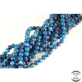 Perles semi précieuses en agate - Rondes/8 mm - Bleu roi