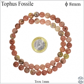 Perles semi précieuses en Tophus fossile - Ronde/8 mm