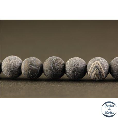 Perles semi précieuses en Agate - Rondes/8 mm - Gris dépoli